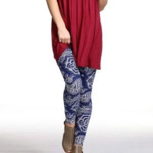 New Mix Pants - BOGO; NWOT- Navy&white floral super soft leggings